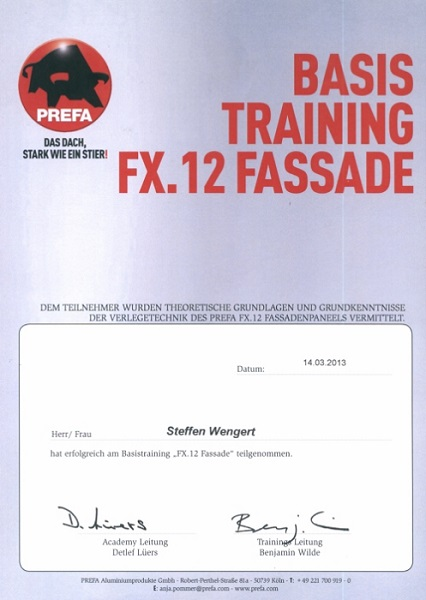 Prefa Fassaden Training